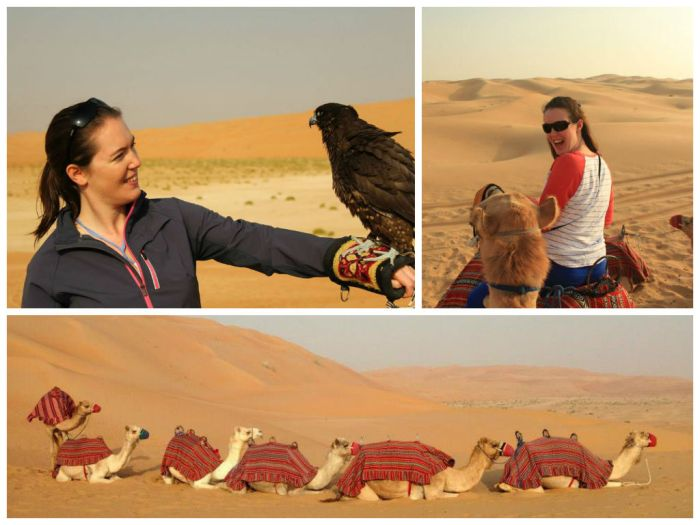 Camel riding and falconry
